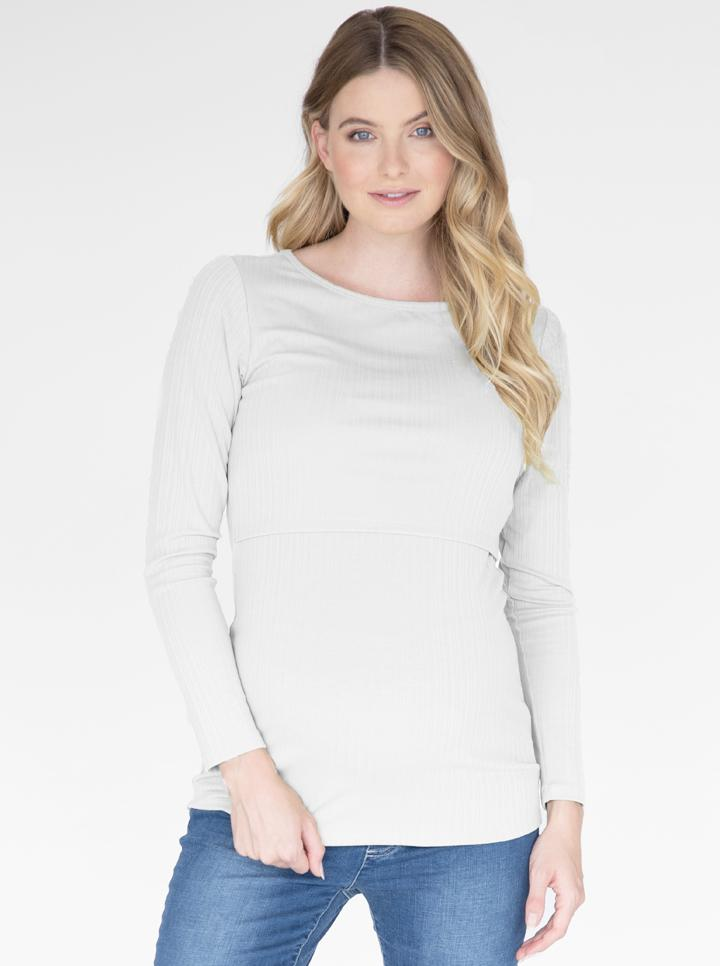 Long Sleeve Maternity & Nursing Cotton Top in White front
