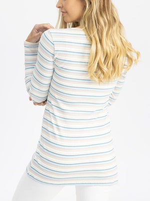 Long Sleeve Nursing Cotton Top - Pastel Stripes