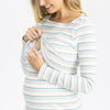 Maternity Long Sleeve Nursing Cotton Top - Pastel Stripes
