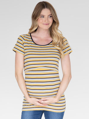 Maternity and Nursing Retro Stretchy Tee - Yellow Stripes front