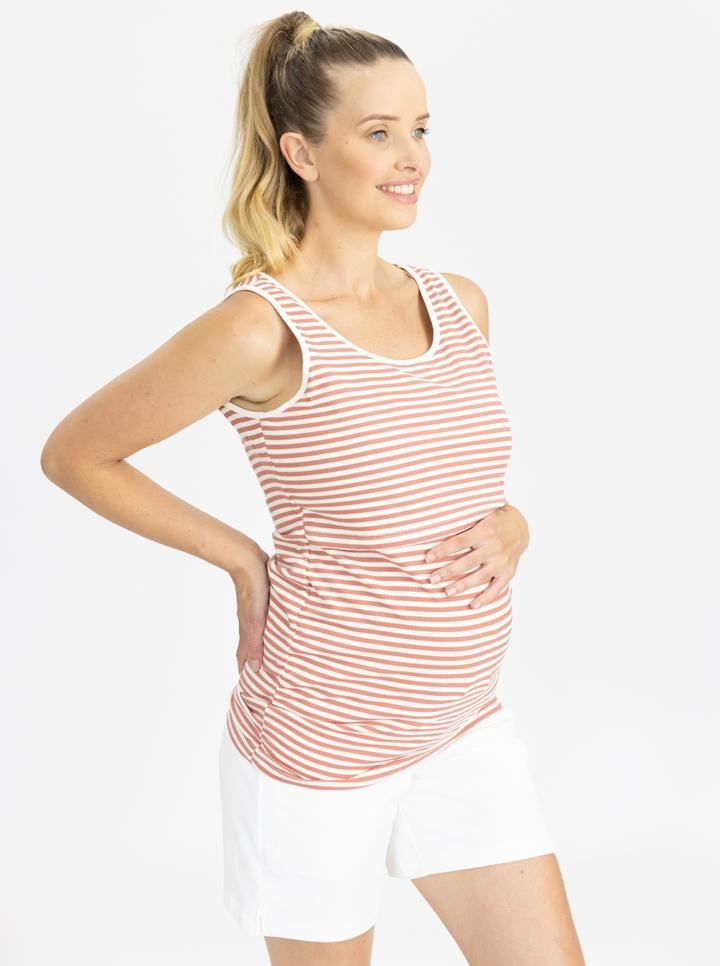Maternity Tank - Rose pink and white stripes side