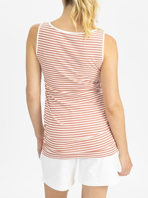 Maternity Tank - Rose pink and white stripes back