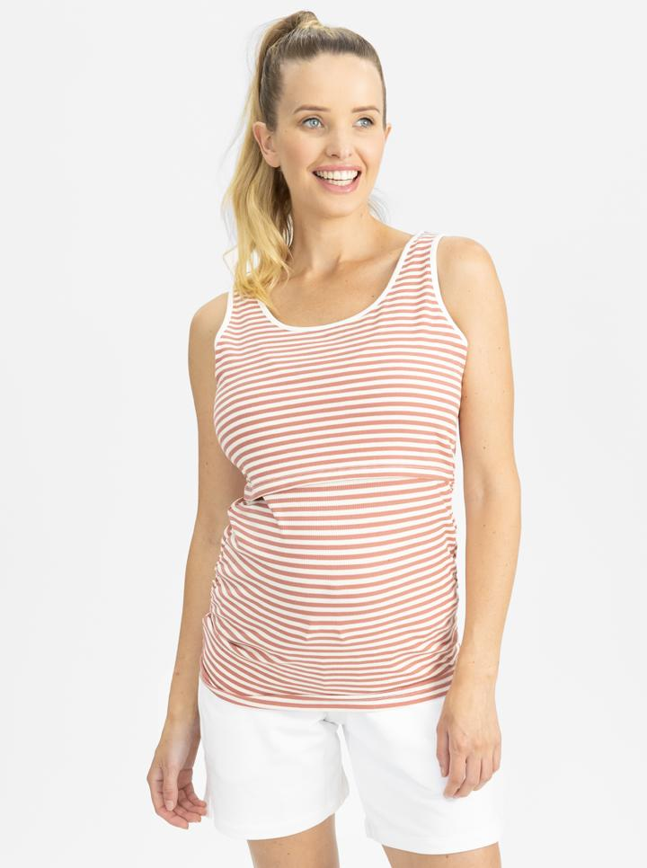 Maternity Tank - Rose pink and white stripes main