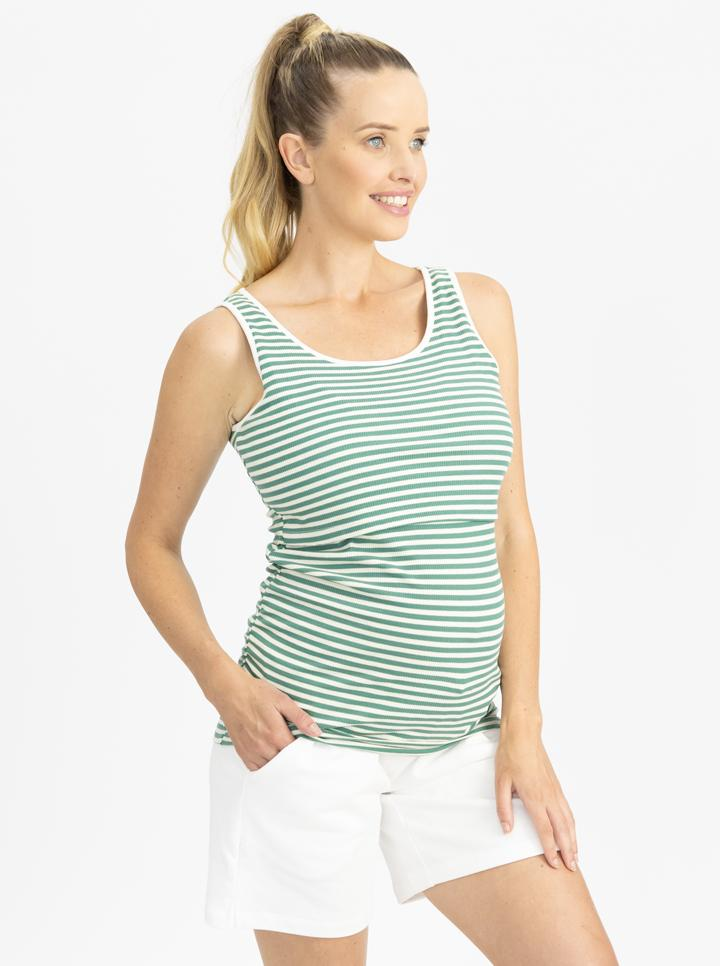 Maternity Tank in Green and White Stripes