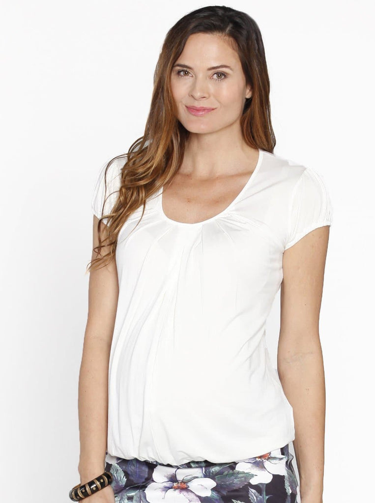 Breastfeeding Hidden Zipper Nursing Top - Blue/ Black/ White - Angel Maternity - Maternity clothes - shop online