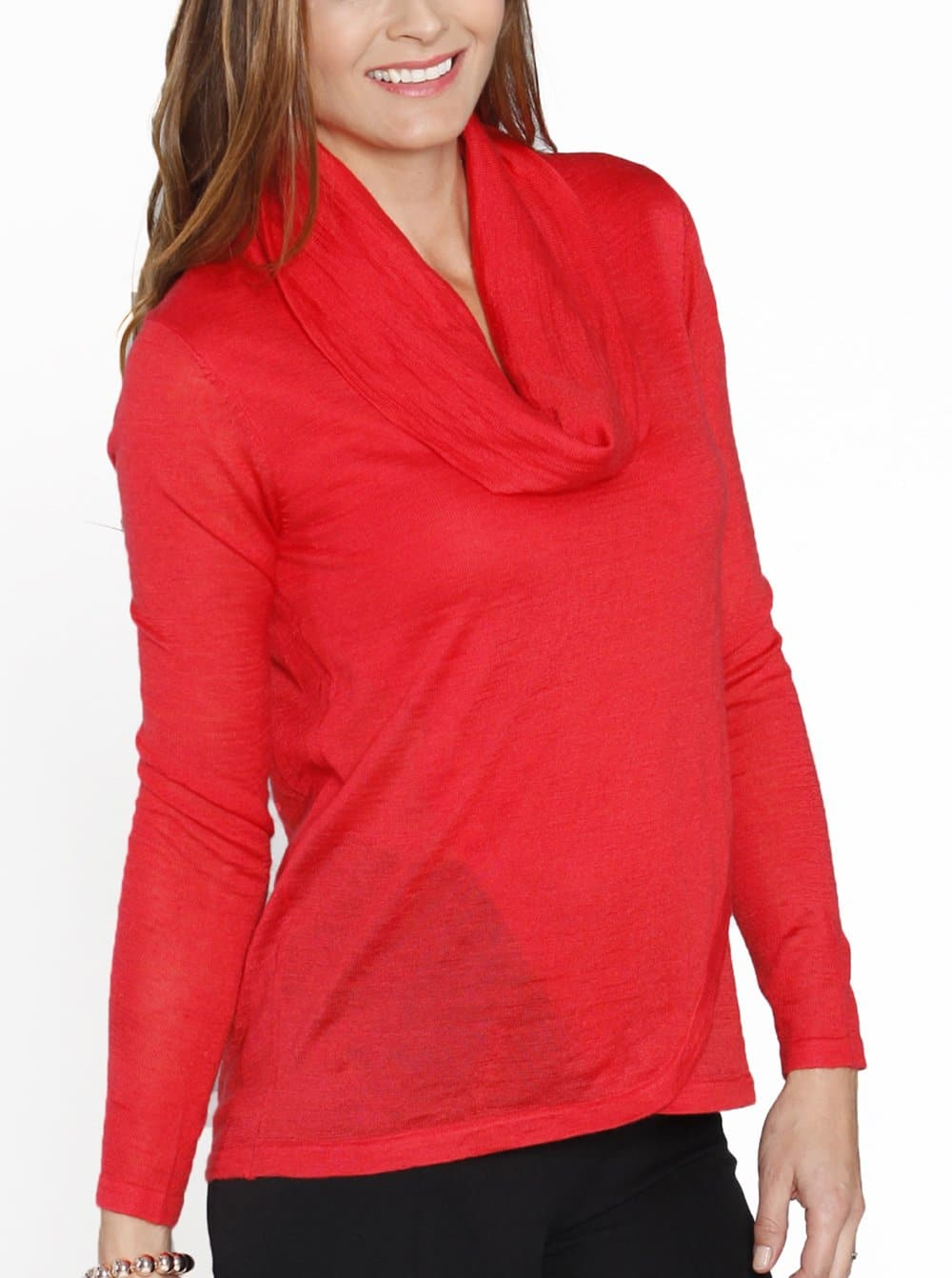 Nursing Petal Front Layered Knitted Top - Red Watermelon