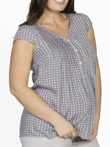 Maternity Gathered Front Top - Navy