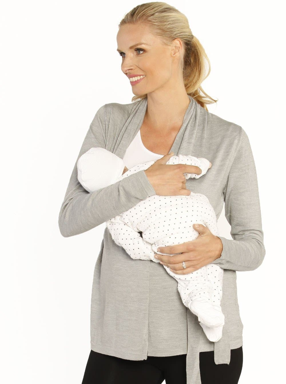 Maternity Roll Collar Knitted Cardigan with Waist Tie - Grey - Angel Maternity - Maternity clothes - shop online