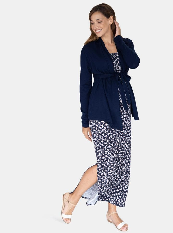 Maternity Knitted Waist Tie Cardigan - Navy
