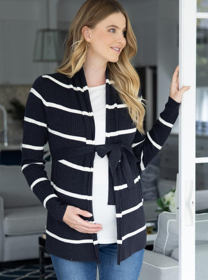 Maternity Cardigan in Black and White Stripes front