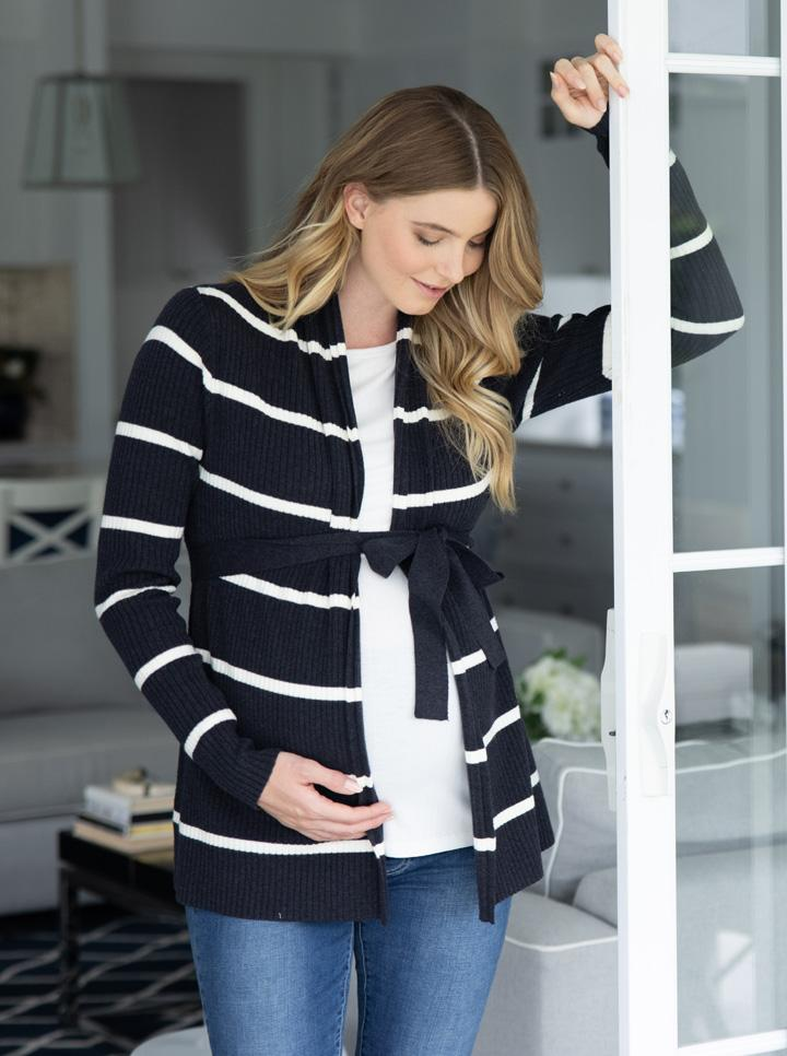 Maternity Cardigan in Black and White Stripes