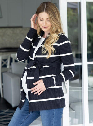 Maternity Cardigan in Black and White Stripes side