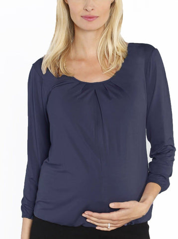 Maternity Tie Back Dressy Top with Back Zipper - Navy