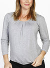 Hidden Zipper Nursing Long Sleeve Top - Marl Grey