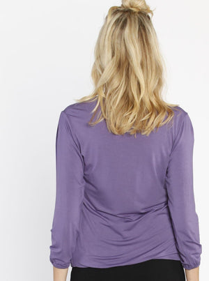 Hidden Zipper Nursing Long Sleeve Top - Deep Purple - Angel Maternity - Maternity clothes - shop online