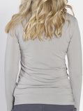 Busy Mummy Long Sleeve Bamboo Nursing Top in Grey back