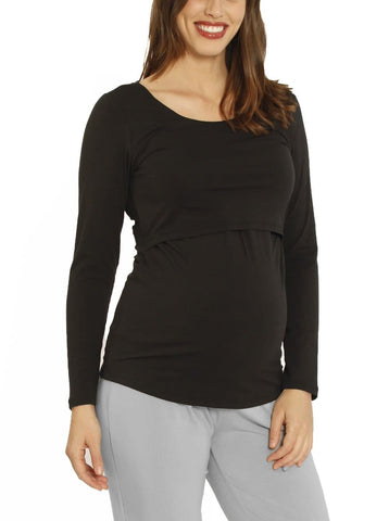 Maternity Loose Fit Double Layer Nursing Top - Red & Black Nursing Singlet