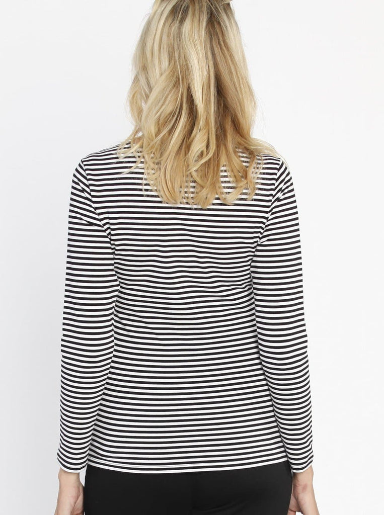 Busy Mummy Long Sleeve Nursing Top in Black & White Stripes