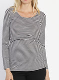 Busy Mummy Long Sleeve Nursing Top in Black & White Stripes - Angel Maternity - Maternity clothes - shop online