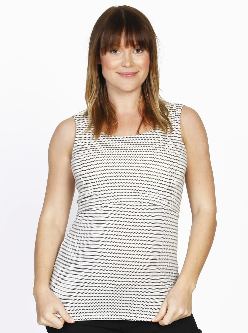 Busy Mummy Cotton Nursing Tank in Black Stripes - Angel Maternity - Maternity clothes - shop online