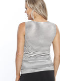 Maternity Busy Mummy Nursing Tank in Black & White Stripes