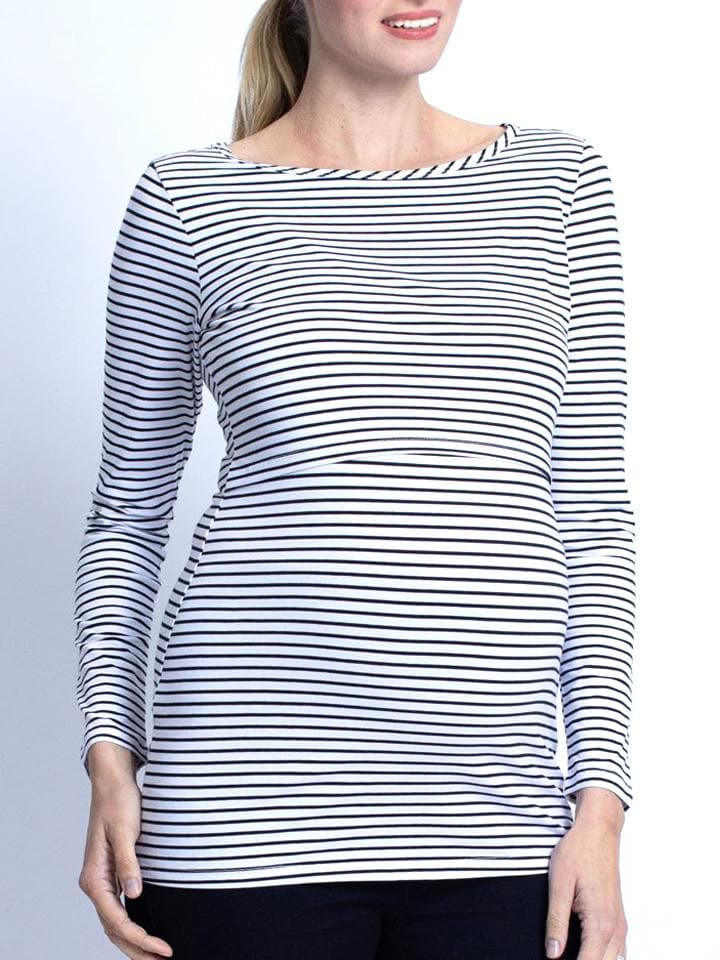 Busy Mummy Long Sleeve Nursing Top - Black Stripes