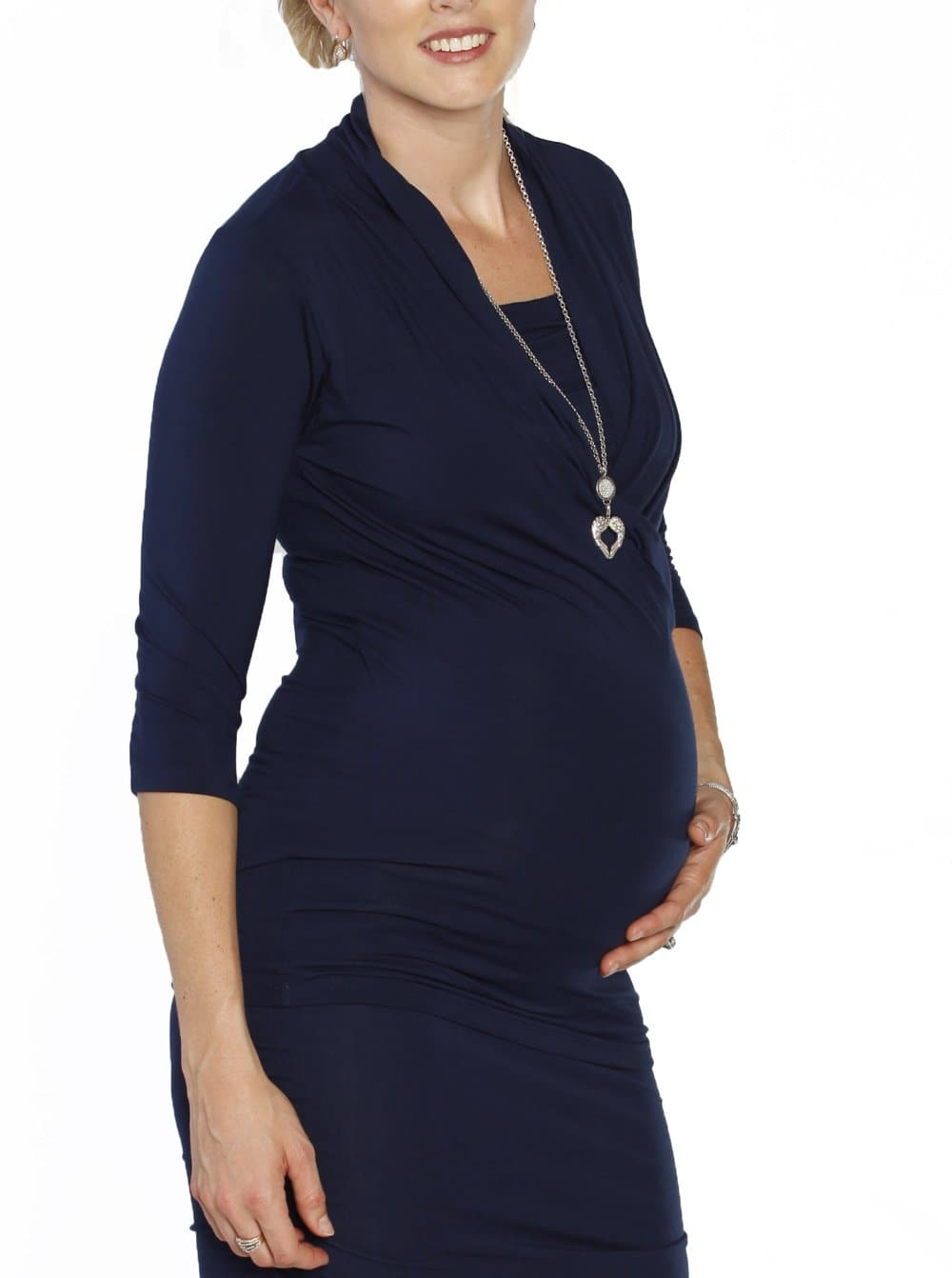 The V-Neck Crossover Maternity Top - Navy