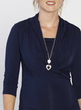 The V-Neck Crossover Maternity Top - Navy front
