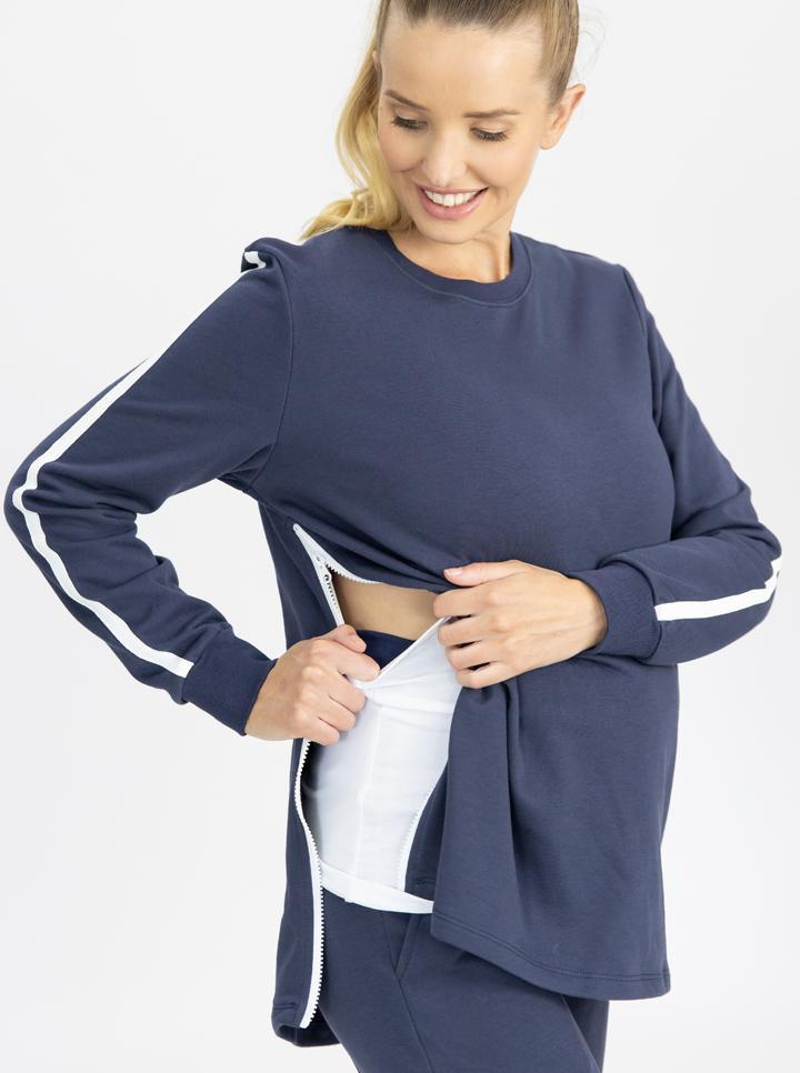 Maternity Tracksuit Set in Navy with Nursing Singlet