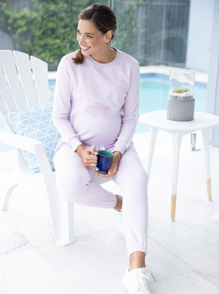 Maternity Tracksuit Top in Lilac