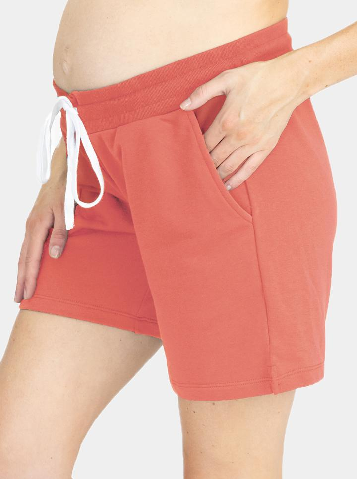 Cotton Maternity Summer Shorts in Coral