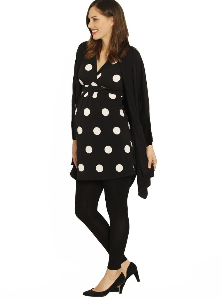 Crossover Cap Sleeve V-Neck Top - Black & White Dots