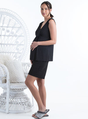 Maternity Two-Piece Sleepwear Set - Black Polka Dot