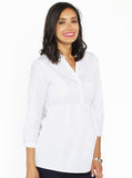 Maternity Cotton Roll Up Sleeve Work Shirt - Plain White Stripes - Angel Maternity - Maternity clothes - shop online