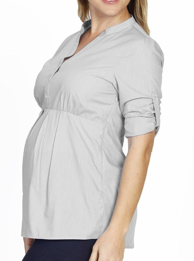 103713541fd Maternity Roll Up Sleeve Shirt - Light Grey Stripes – Angel Maternity