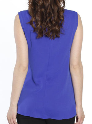 Breastfeeding Layered Chiffon Nursing Top - Cobalt Blue