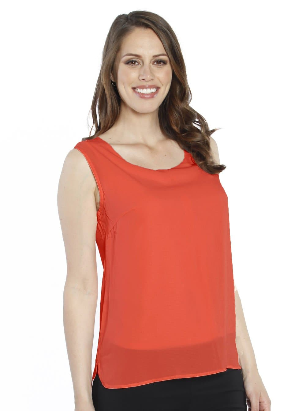 Breastfeeding LAYERED CHIFFON NURSING TOP - Tangarine - Angel Maternity - Maternity clothes - shop online