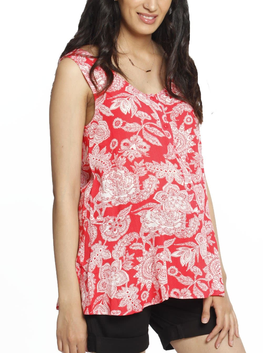 Maternity Button Front Smart Nursing Top in Watermelon Print
