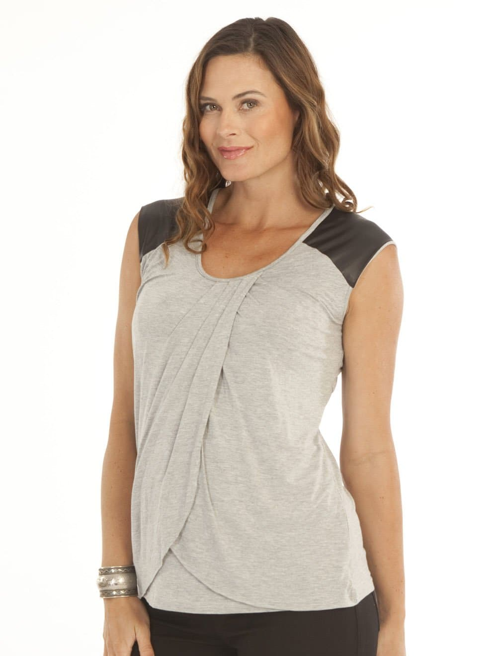 Breastfeeding Petal Front Nursing Top with Leather Patch - Grey - Angel Maternity - Maternity clothes - shop online
