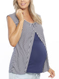 Nursing Tunic Top with Petal Front - Navy Stripes