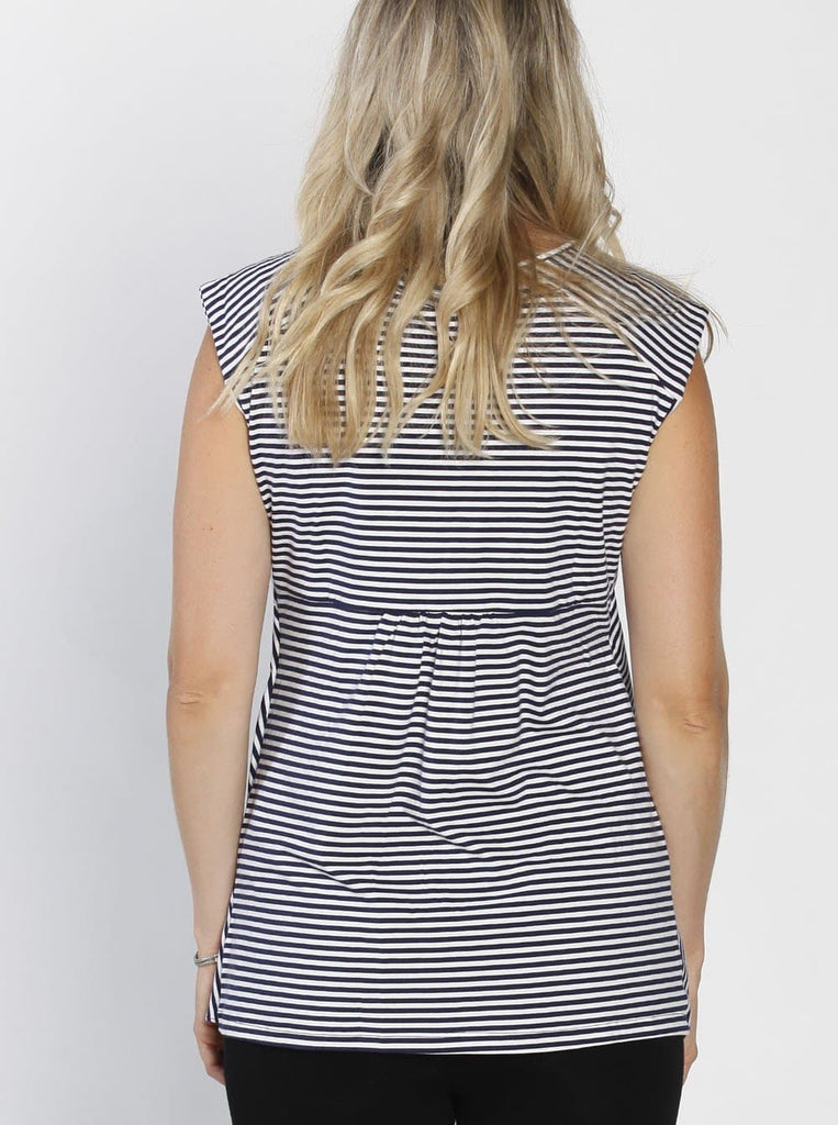 Nursing Tunic Top with Petal Front - Navy Stripes back