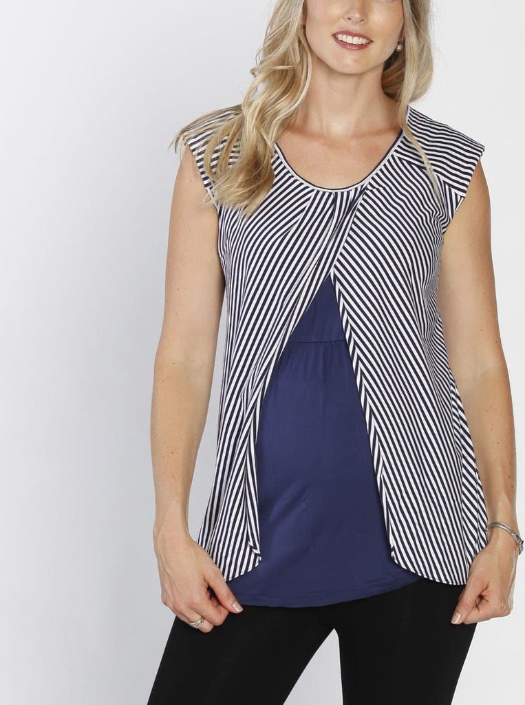 Nursing Tunic Top with Petal Front - Navy Stripes front