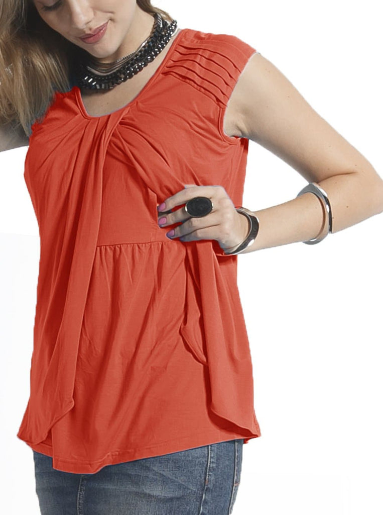 Breastfeeding Nursing Top with Petal Front - Red Clay - Angel Maternity - Maternity clothes - shop online