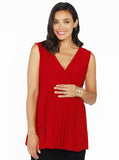 Maternity Crossover Soft Pleated Dressy Nursing Top - Red - Angel Maternity - Maternity clothes - shop online