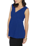 Maternity Crossover Soft Pleated Dressy Nursing Top - Blue - Angel Maternity - Maternity clothes - shop online