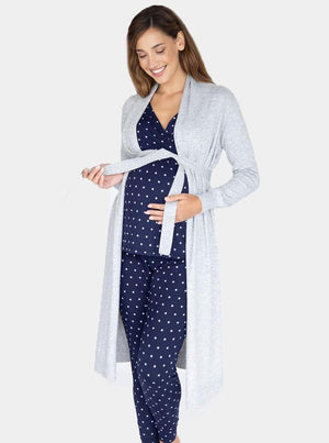 Maternity Long Knit Wool Blend Cardigan in Grey front