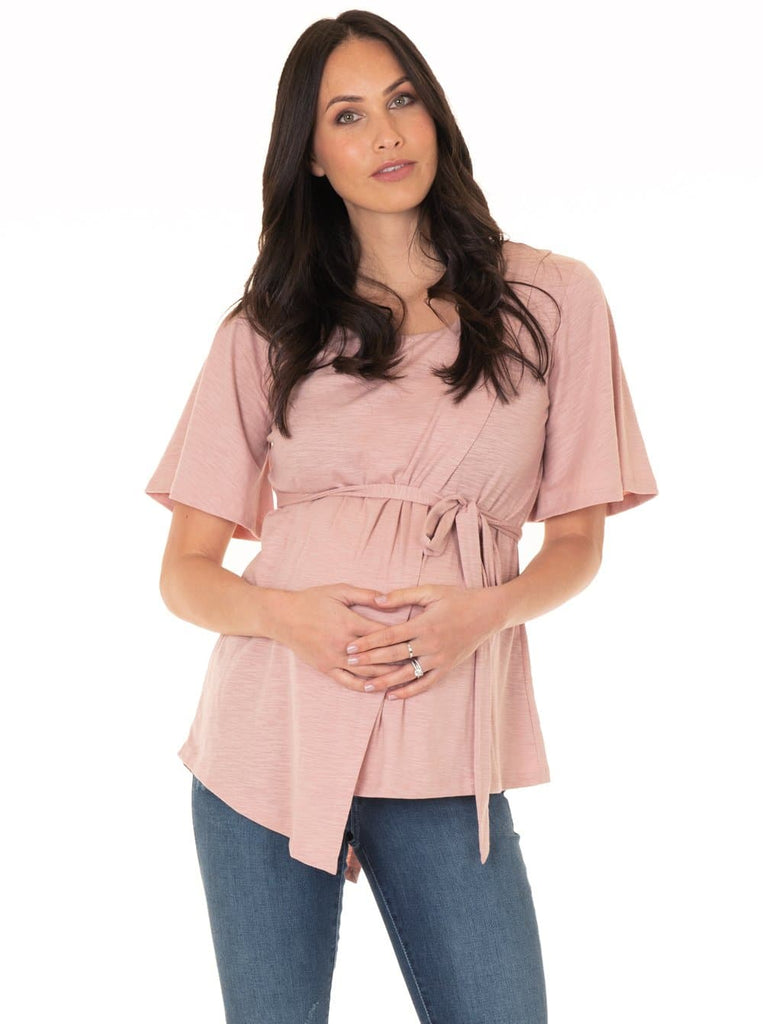 Maternity Tie Waist Nursing Dress - Dusty Pink