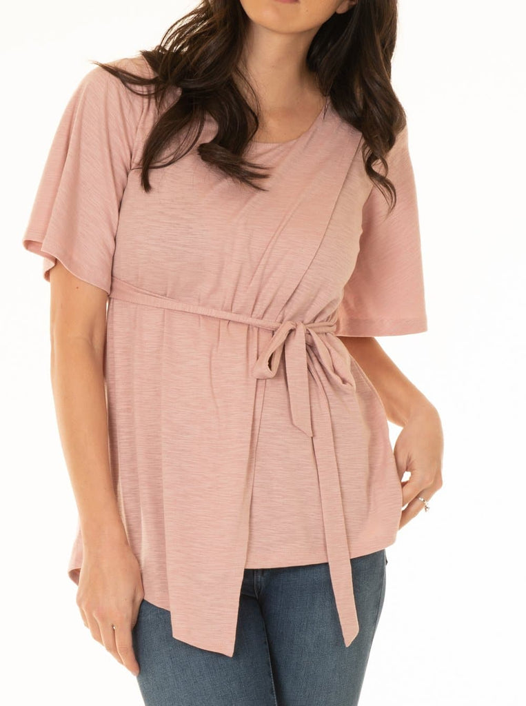 Maternity Tie Waist Nursing Top - Dusty Pink
