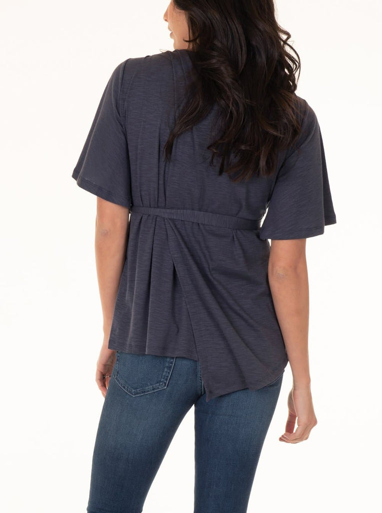 Maternity Tie Waist Nursing Top - Dark Grey