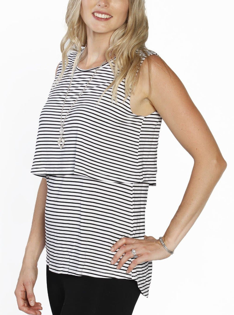 Breastfeeding Sleeveless Pull Up Top in Black & White Stripes - Angel Maternity - Maternity clothes - shop online
